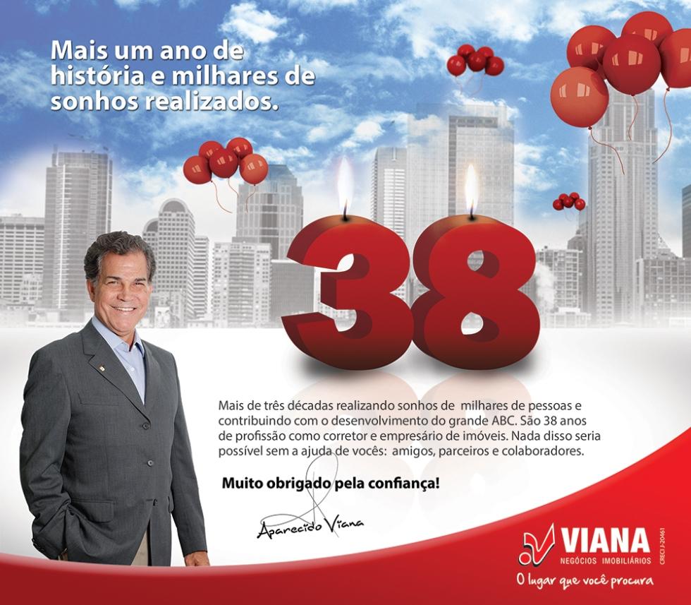 Aniversário 38 anos profissão Aparecido Viana - Viana Negócios Imobiliários - Apartamentos, Casas, Lançamentos em São Caetano do Sul, ABC e São Paulo