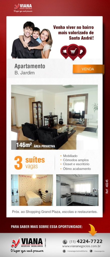 Apartamento em Santo André - Viana Negócios Imobiliários - Apartamentos, Casas, Imóveis, Lançamentos em São Caetano do Sul, São Bernardo, Santo André, ABC e São Paulo