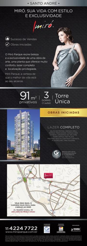 Miró Santo André - Lançamento em Santo André - Viana Negócios Imobiliários - Apartamentos, Casas, Imóveis, Lançamentos em São Caetano do Sul, São Bernardo, Santo André, ABC e São Paulo