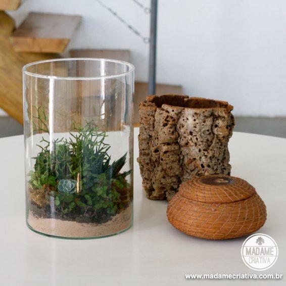 mini jardim de vidro:Já pensou ter um mini jardim dentro de um pote de vidro? Será que é