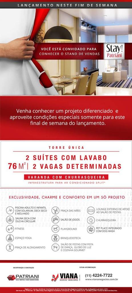 Stay Patriani_Lancamento - Viana Negócios Imobiliários - Apartamentos, Casas, Imóveis, Lançamentos em São Caetano do Sul, São Bernardo, Santo André, ABC e São Paulo