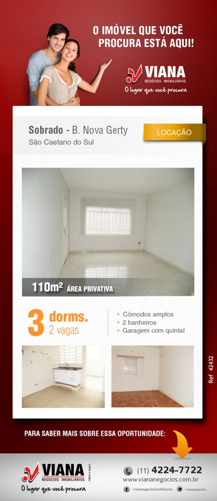 Sobrado para locação em São Caetano do Sul - Viana Negócios Imobiliários - Apartamentos, Casas, Imóveis, Lançamentos em São Caetano do Sul, São Bernardo, Santo André, ABC e São Paulo